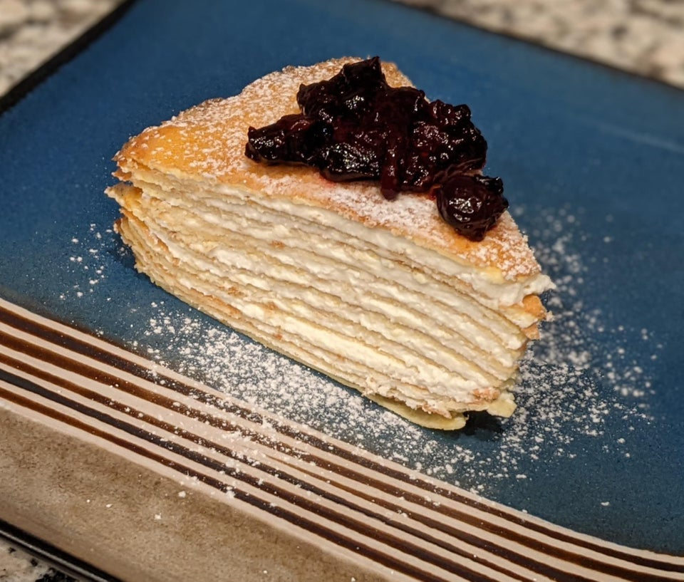 Блинный торт с лимонной рикоттой
